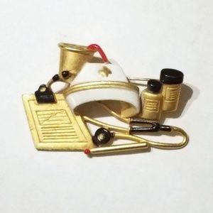 Vintage Nurse Goldtone & Enamel Brooch Pin RN LPN